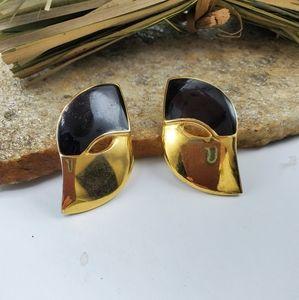 Black Enamel Statement Earrings
